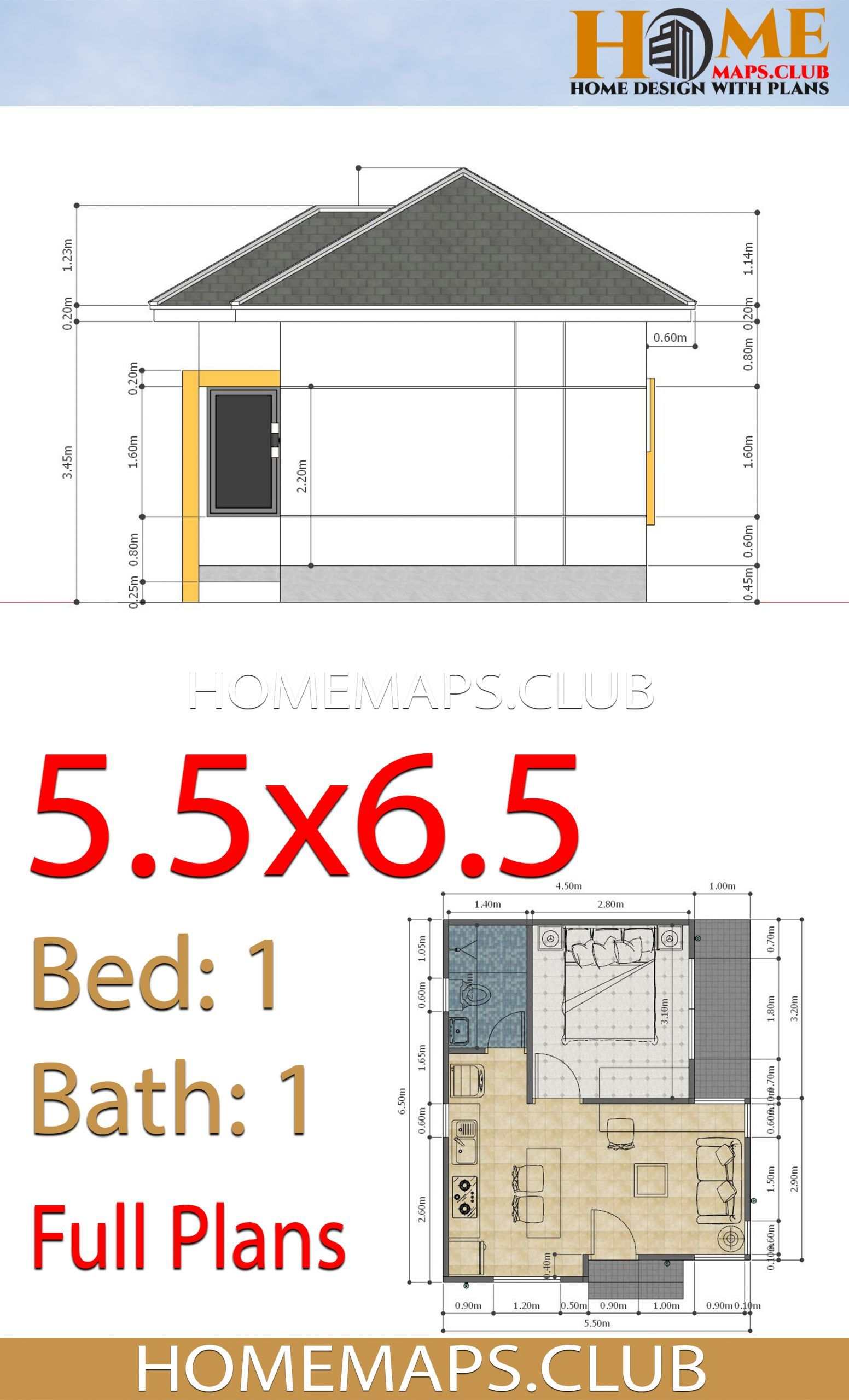 Small House Plans 5 5x6 5 With One Bedroom Hip Roof Small House Plans Small House Design Plans Small House
