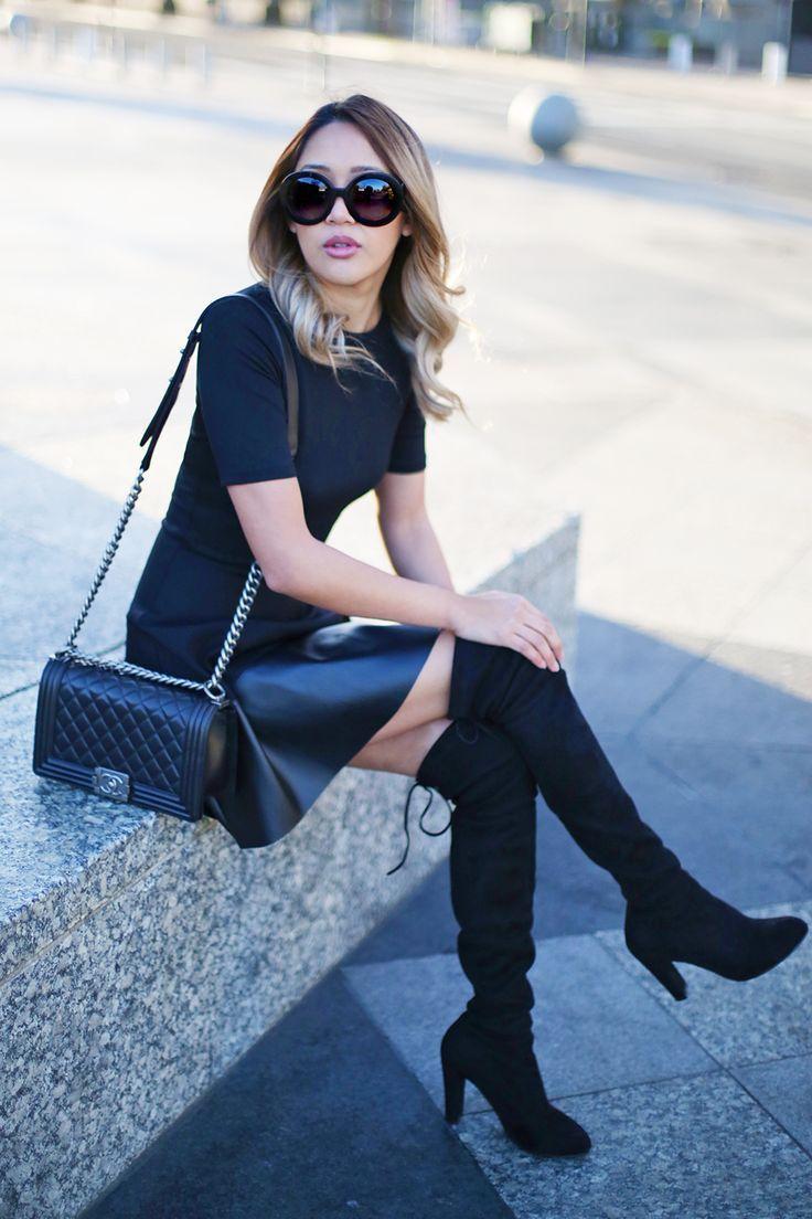 Beyond basic blog little black dress aqua faux leather trim dress