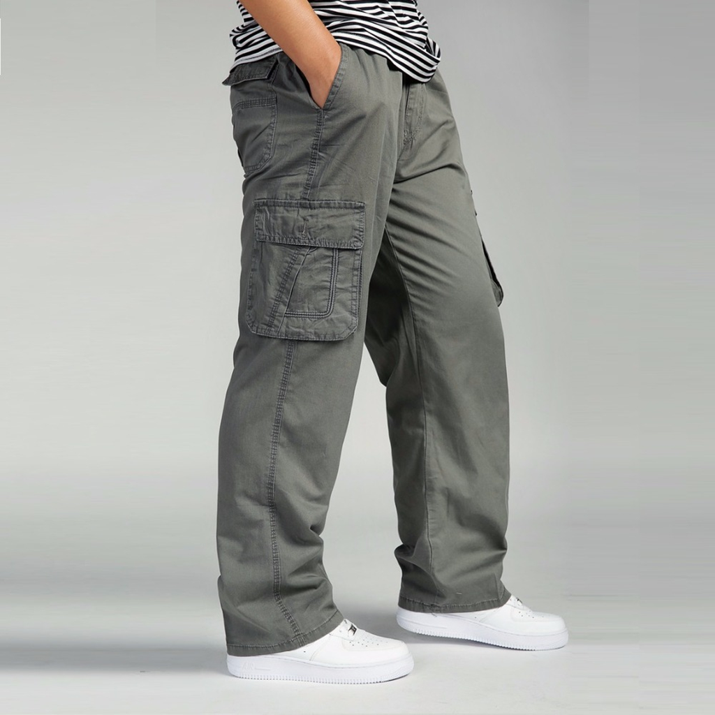 Men Thin Loose Fit Drawstring Cargo Trousers Work Pants Pocket Casual XL~6XL