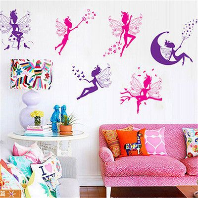 Flower girl bicycle butterfly wall sticker decal art for Stickers habitacion nina