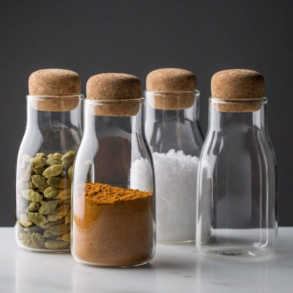 Set of 4 300ml High Grade Glass Bamboo Lid Spice,herbs and any other food produc