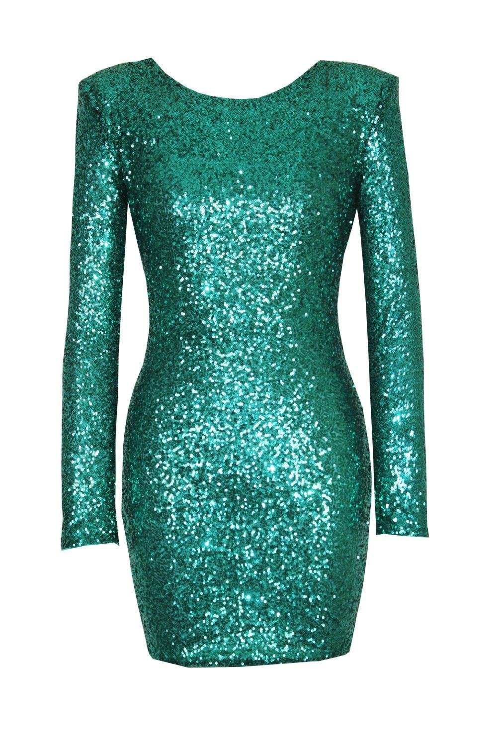 Green halter fitting long sleeved tight sequined dresses sequin