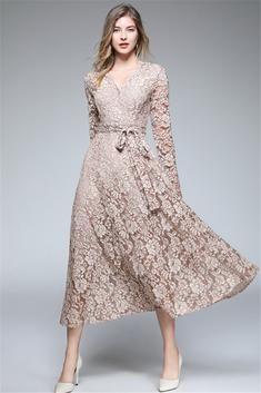 elegant knot waist large swing khaki lace dress  lace