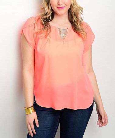 Love this Neon Coral Sheer Embellished-Keyhole Top - Plus on #zulily! #zulilyfinds