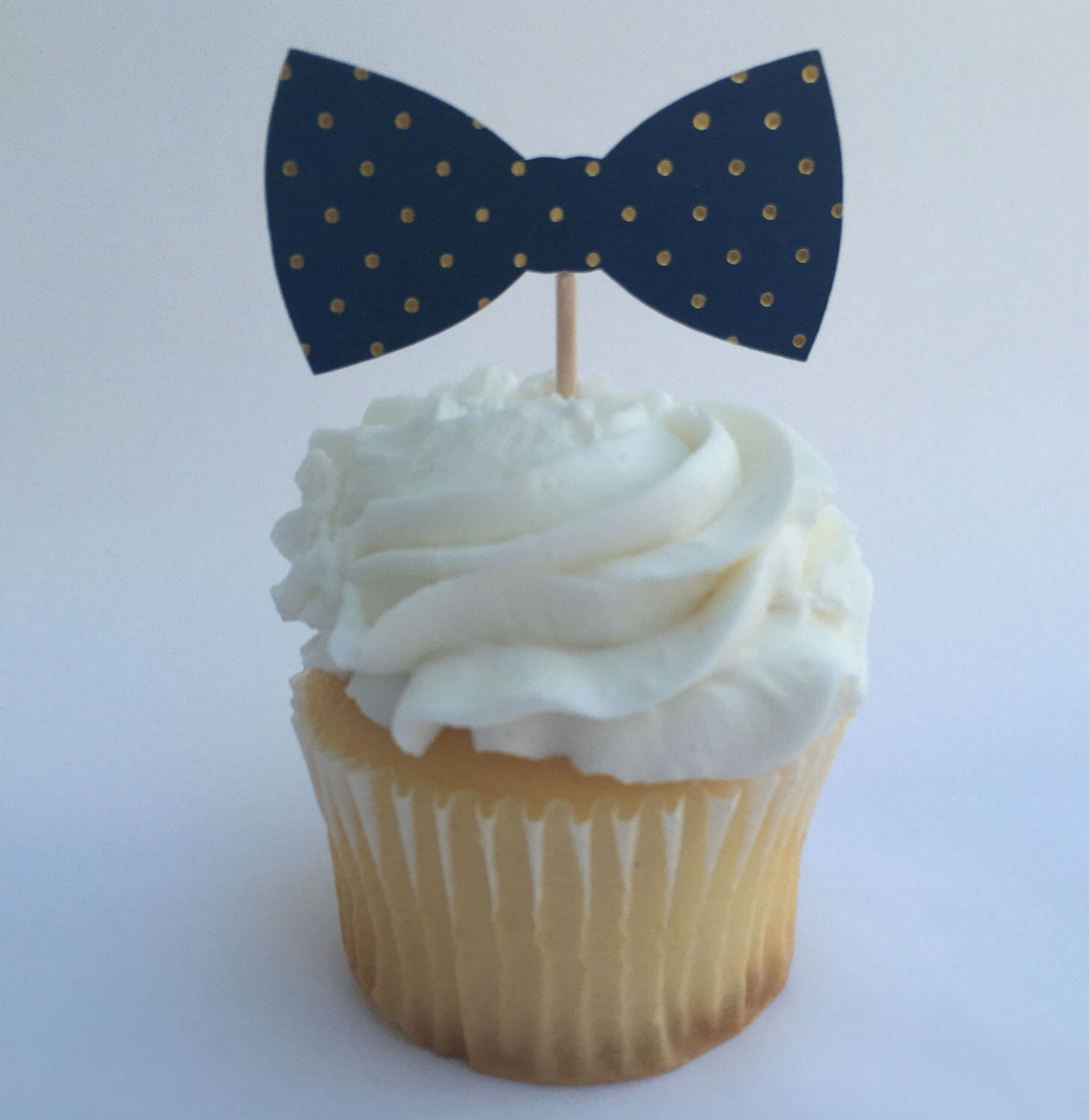 Polka Dot Bowtie Cupcake Toppers Blue and Gold Set of 12