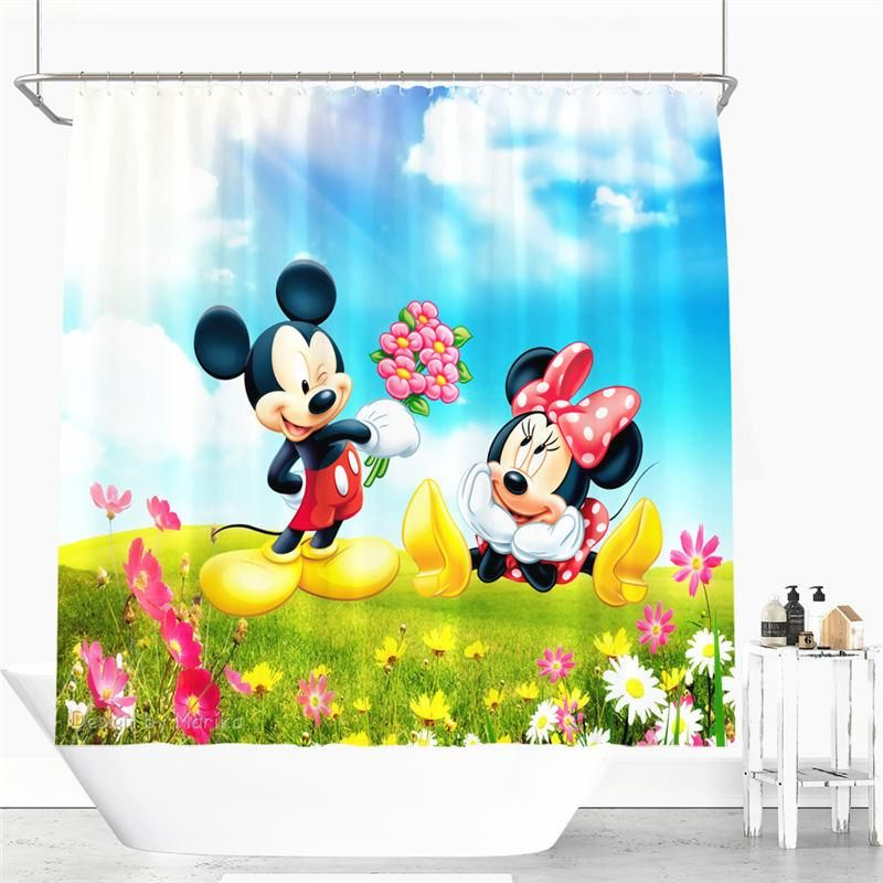 Cute Mickey And Minnie Cartoon Shower Curtain Polyester Fabric Bathroom Curtain 12 Hooks Waterproof T With Images