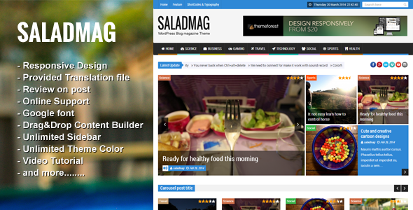 Discount Deals SaladMag - Responsive WordPress Magazine ThemeYes I ...