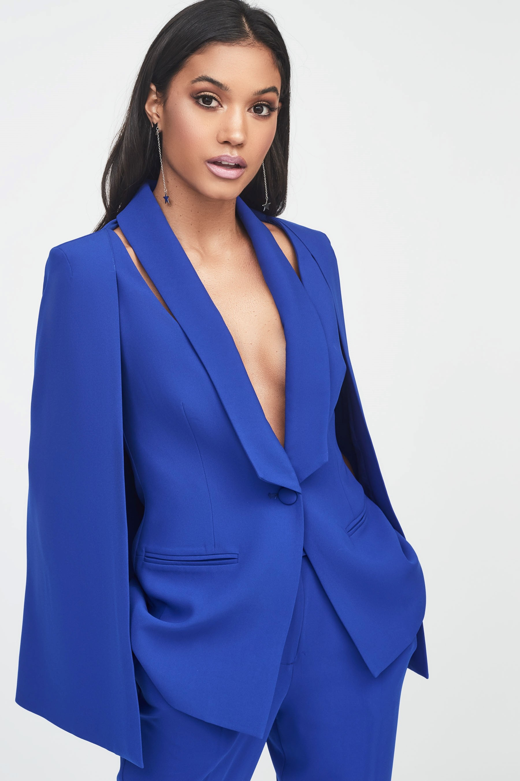 641883192357b Womens Lavish Alice Cut Out Shoulder Cape Blazer - Blue in 2019 ...