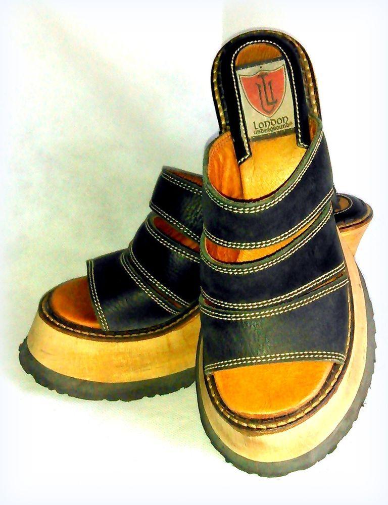 43dfaa33b603 Vintage 1990s London Underground Shoes ~ Black Wooden Platform Sandals Sz 7  M  LondonUnderground  SandalsFlipFlops