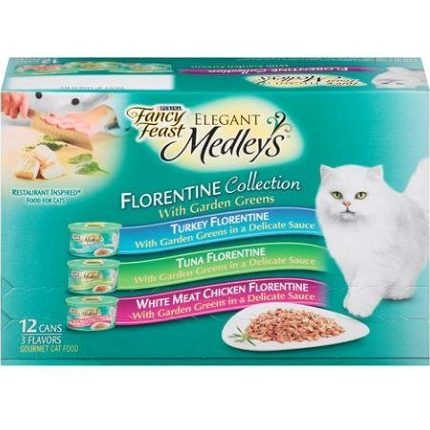 Fancy Feast Elegant Medleys Florentine Collection Cat Food Variety Pack 12 3 Oz Cans Contains 4 Each Turkey Florentine Wet Cat Food Cat Food Best Cat Food