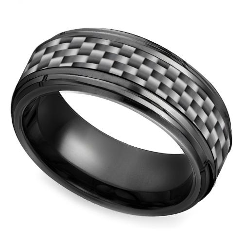 Fancy Beveled Carbon Fiber Men us Wedding Ring in Black Titanium This black titanium Men us band is millimeters wide and features a modern gray carbon fiber