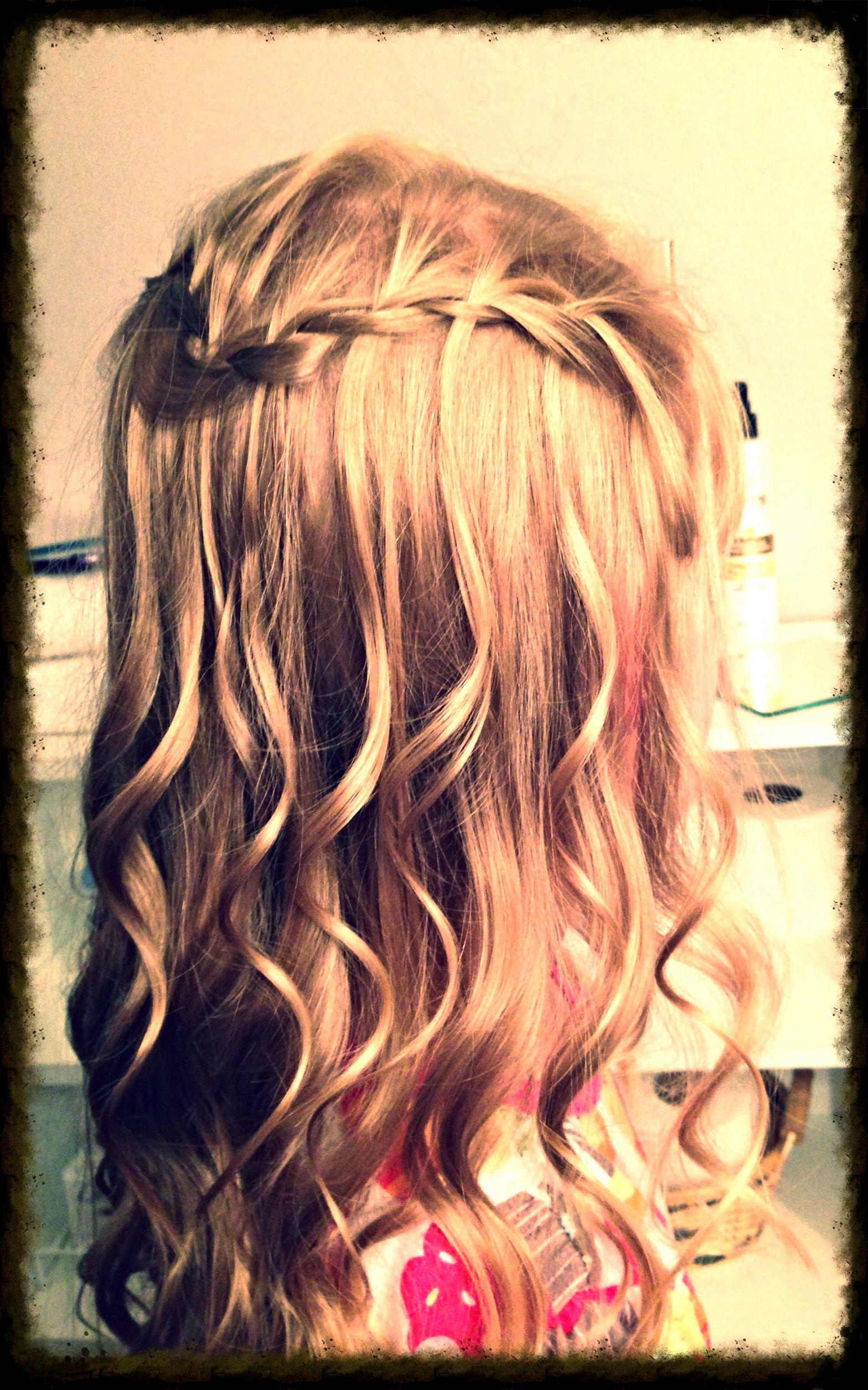 cute waterfall braid curls little