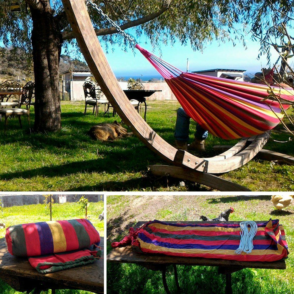 Enkeeo Portable Double Hammock for 2 Person Camping Backpacking Hiking, Woven Cotton Fabric, 2 Premium 9.84ft Ropes, A Carrying Case, 330 lbs. Capacity, 78.74'' x 59.05'', Rainbow Striped: Amazon.co.uk: Garden & Outdoors