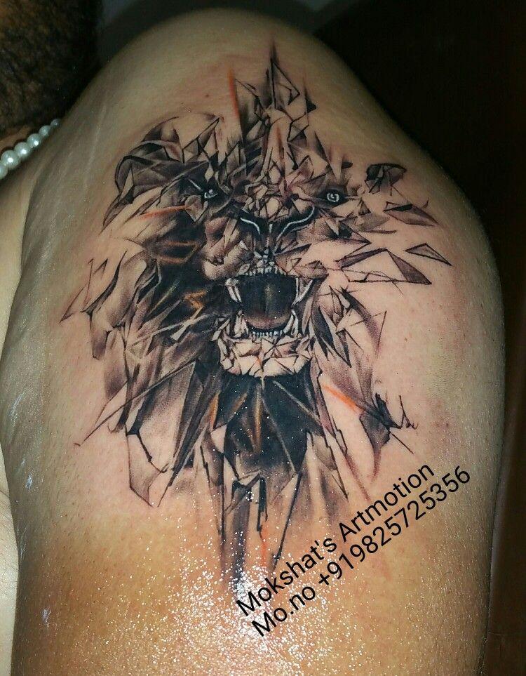 3d lion tattoo done by Mokshat's Artmotion #lion tattoo #3d tattoo ...