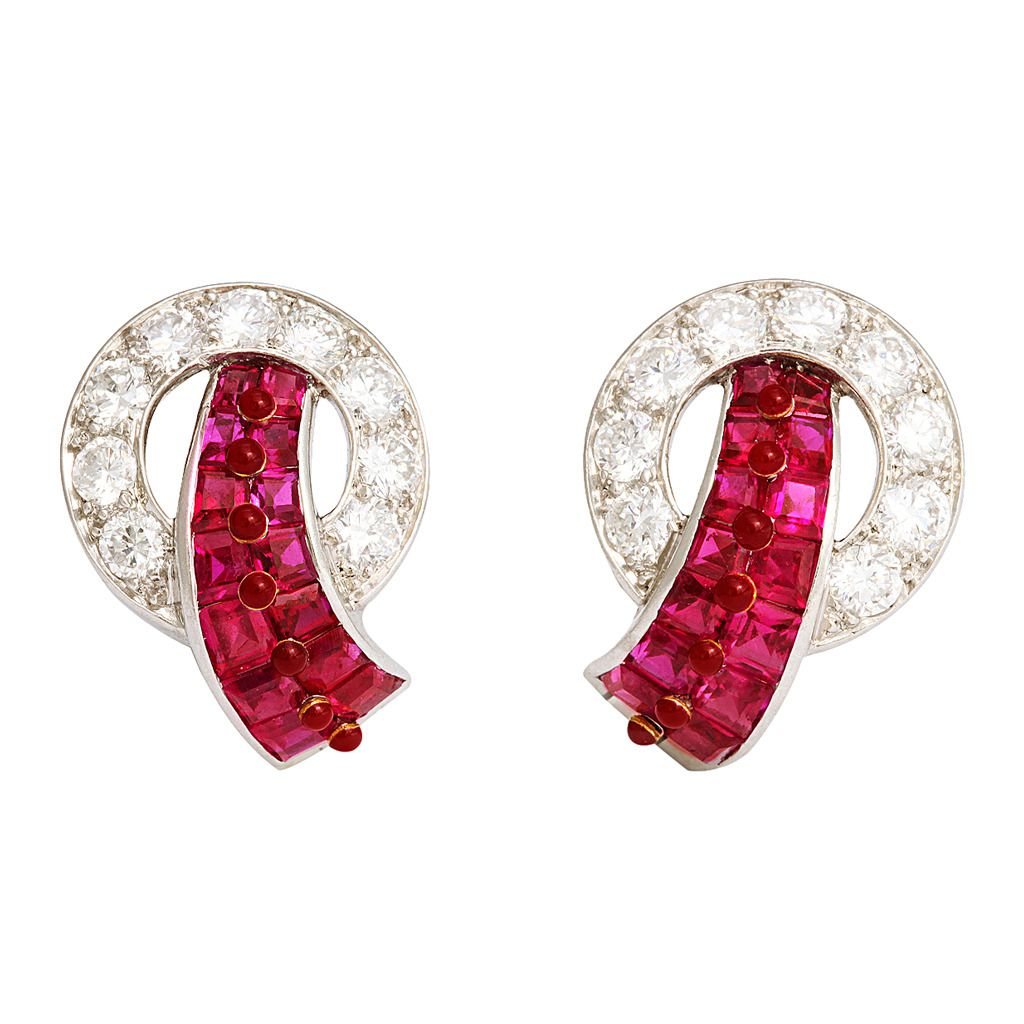 b35cf1616 Cartier Art Deco Ruby Diamond Platinum Earrings. Pair of Art Deco invisibly-set  ruby and diamond clip earrings mounted in platinum. In original Cartier  box. ...
