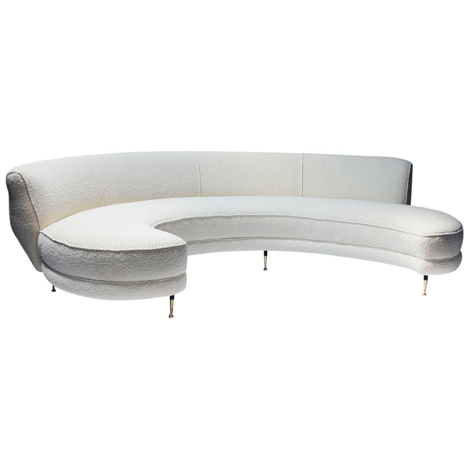 Italian Curved Sofa With Br Legs