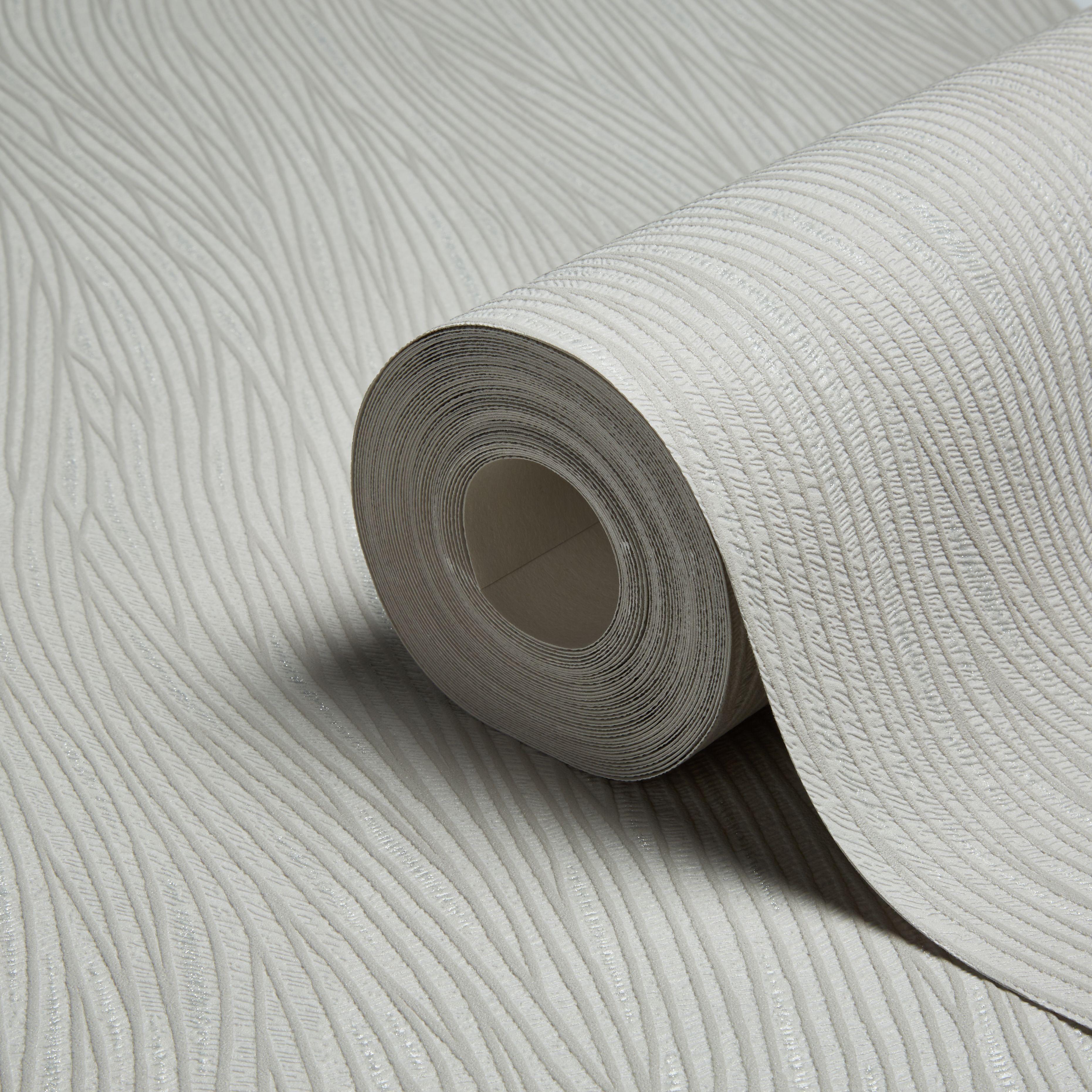 Lotus Texture Grey & Silver Glitter Wallpaper