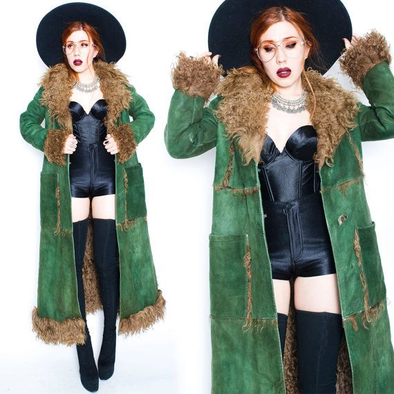 70s Vintage Green Suede Shearling Afghan Penny Lane Almost Famous Fur Coat Jacket Small