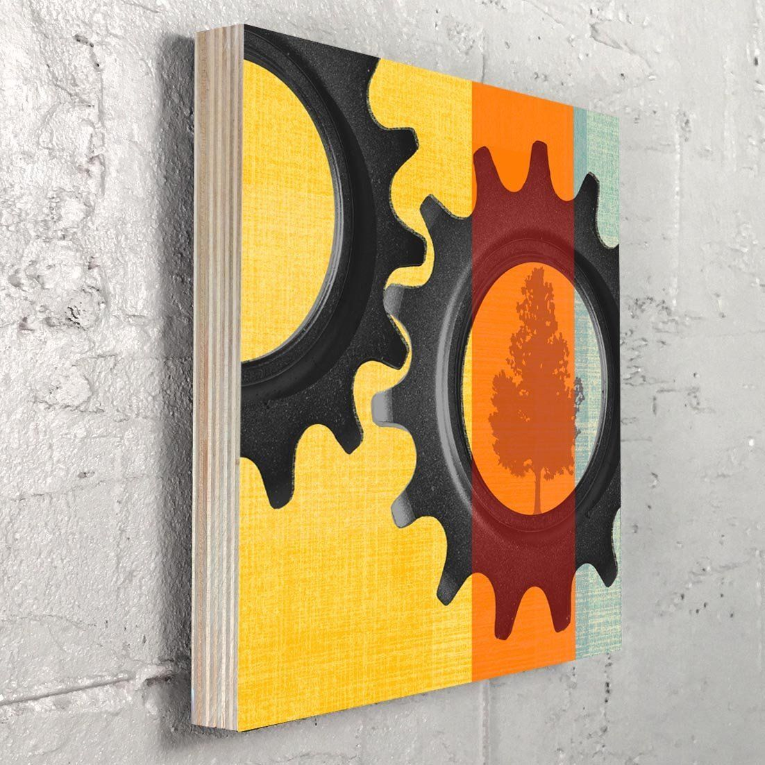 Bike Gear Wall Art On Birch Block. Gears - Is a graphic design and ...