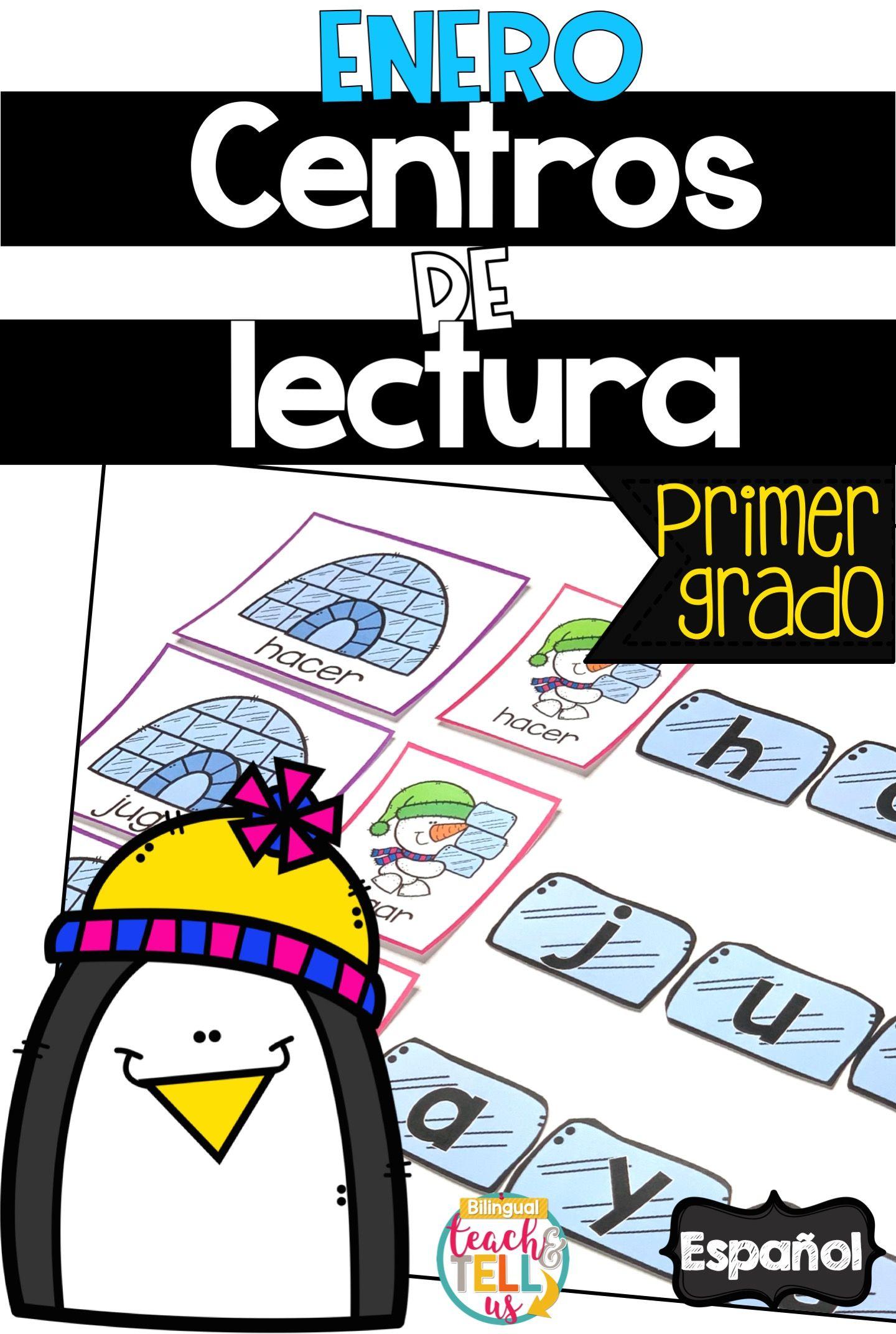 First Grade Literacy Centers Spanish January Centros De