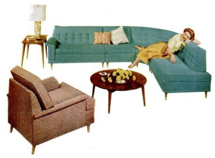 Living Room Sofa · 1950 Curved Sectional Sofa   Google Search