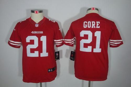 Nike 49ers  21 Frank Gore Red Team Color Youth Embroidered NFL Limited  Jersey! 23.50USD 3170bdd12