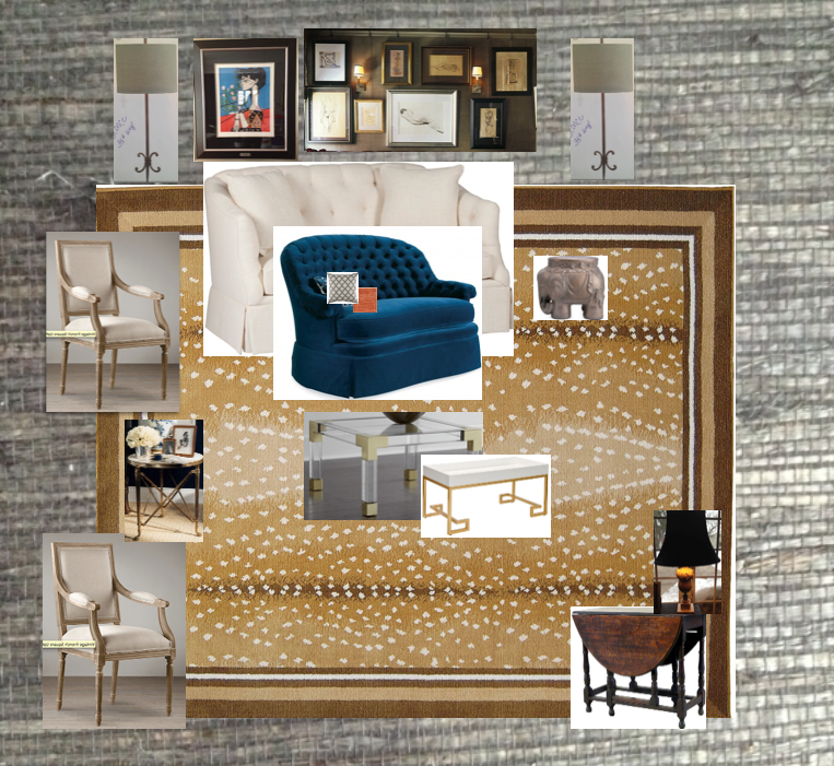 Tiny Living Room Ideas Gray Grasscloth Gallery Wall