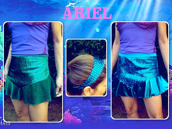 Mermaid running skirt with head band | Running Outfits and