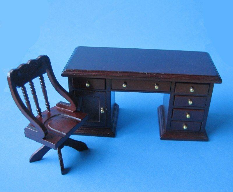 Schreibtisch und Stuhl Mahagoni Puppenhaus Möbel Miniaturen 112 - stühle für wohnzimmer