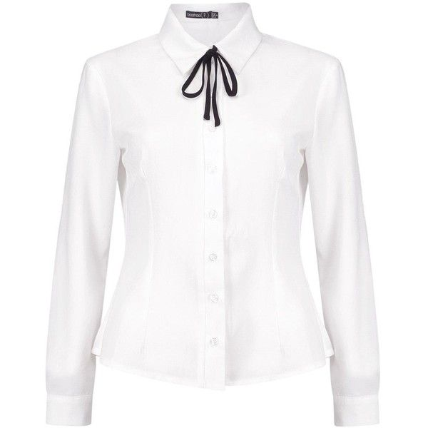 Boohoo Petite Roma Tie Neck Long Sleeve Shirt | Boohoo (£24) ❤ liked on Polyvore featuring tops, white shirt, flat top, neck-tie, white necktie and petite long sleeve shirts