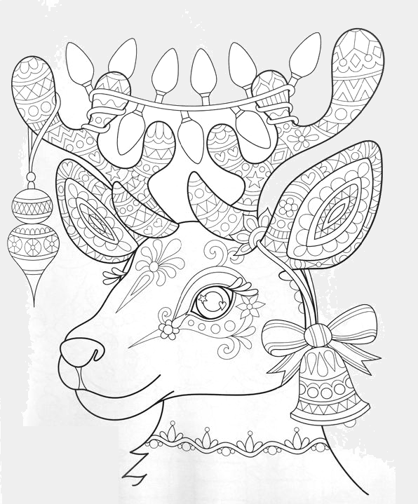 Intricate Reindeer Color Page Christmas Coloring Books Coloring Books Coloring Pages