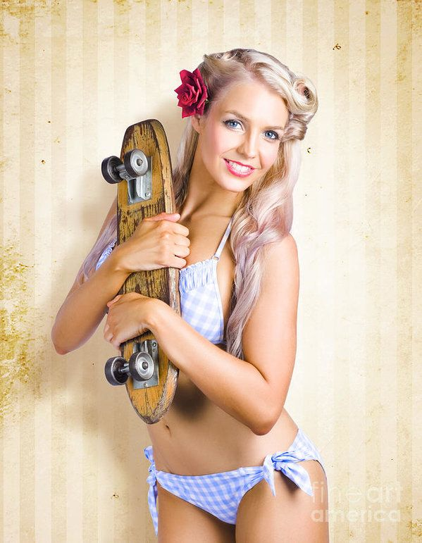 Sexy Blonde Aussie Pin-Up Girl Holding A Retro Skateboard Shaped Like A -2002