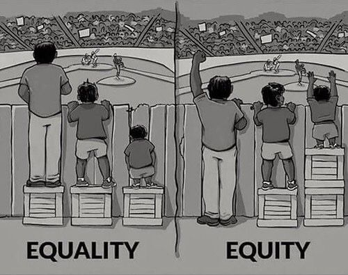 Here's the difference!⁣ ⁣ Equity: is giving everyone what they need to be successful. It refers to fairness and equality in outcomes, not just in supports and opportunity.⁣ ⁣ Equality: is the effect of treating each as without difference; each individual is considered without the counting of their measurable attributes; treated as the same of those with differing attributes.⁣ ⁣ #equality #Thesocialblog #equity #rights #insta #love #famous #ig #followme