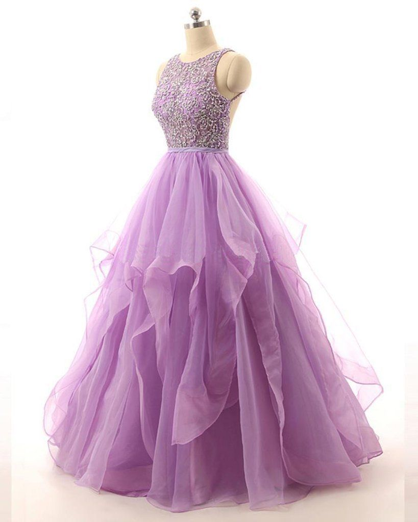 Lilac Organza Illusion A-line Cheap Evening Prom Dresses 46a4159a71a3