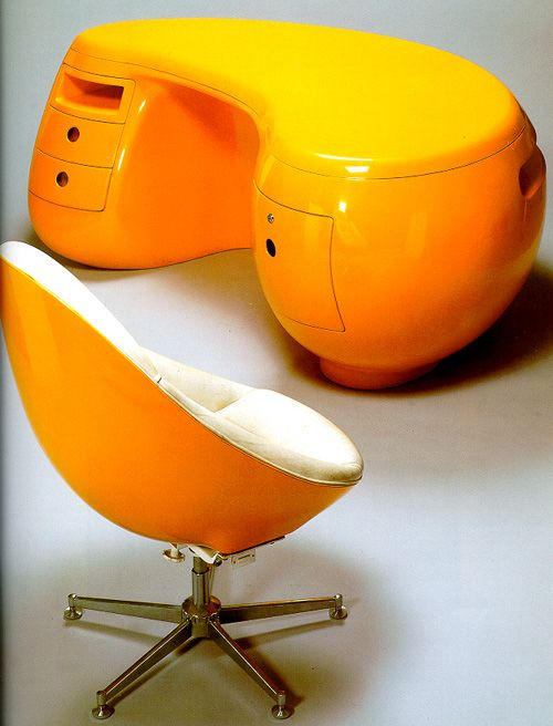 The Boomerang Desk was designed in 1969 by Maurice Calka. Made of molded fiberglass and plastic the unique desk was produced in a limited edition of 35. The iconic piece has 3 drawers on the right and one hanging file drawer on the left.