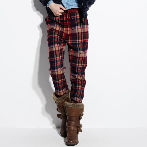 Spring/Autumn Women Full Length Casual Pattern Red Plaid Trousers