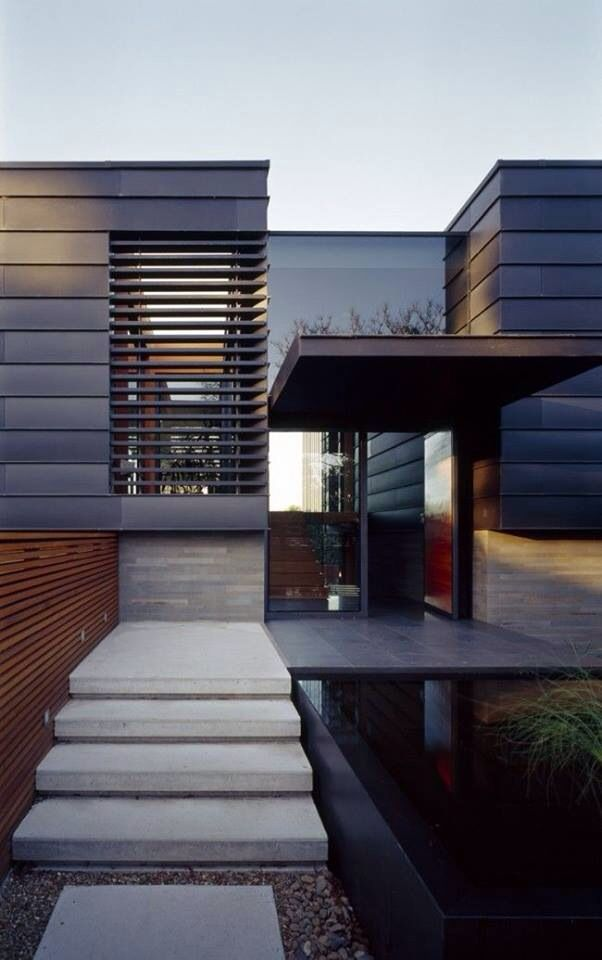 Front Window Wooden Slats Are A Modern Privacy Solution
