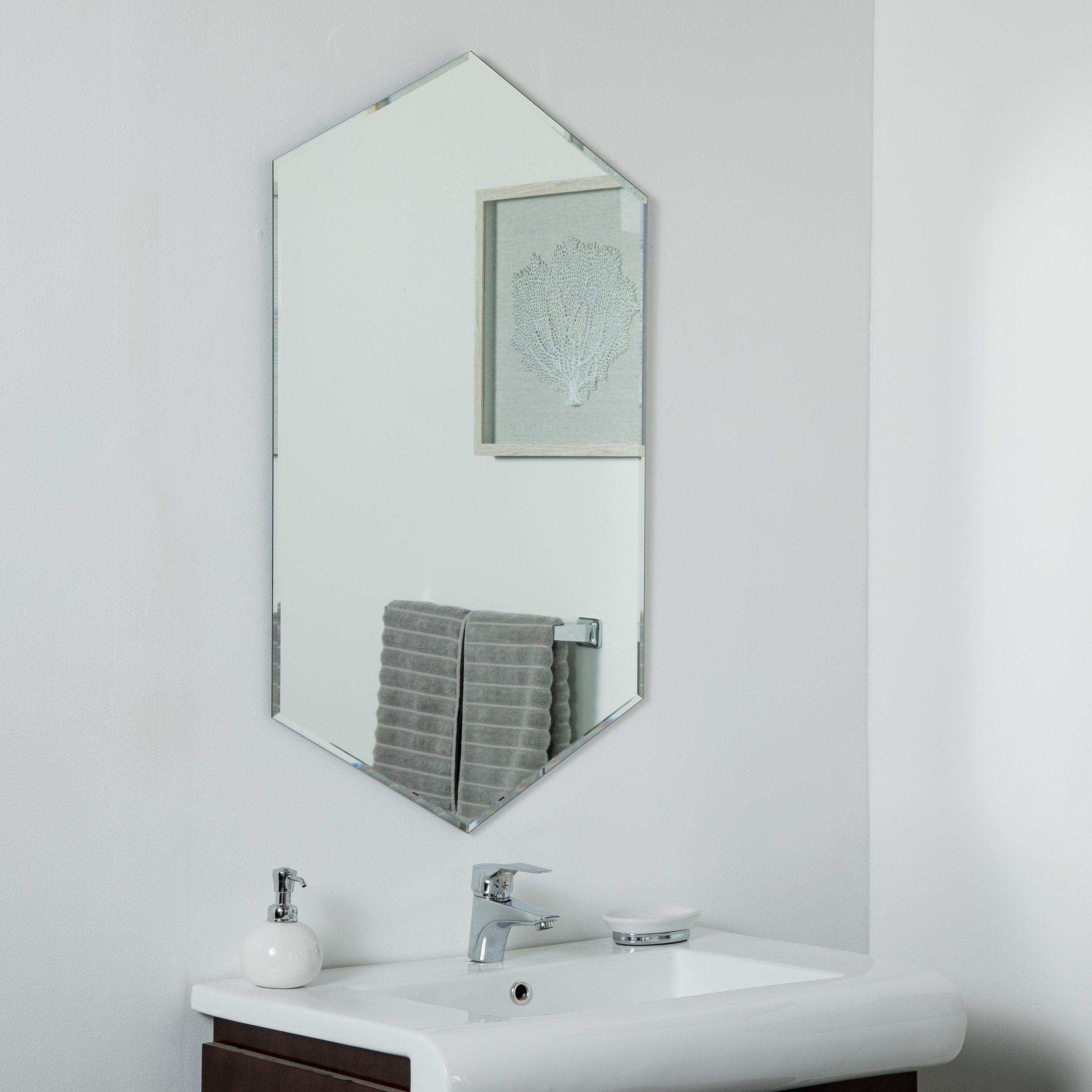 Gal Frameless Mirror 39 5 X 23 6 In Wall Mirror Silver Decor