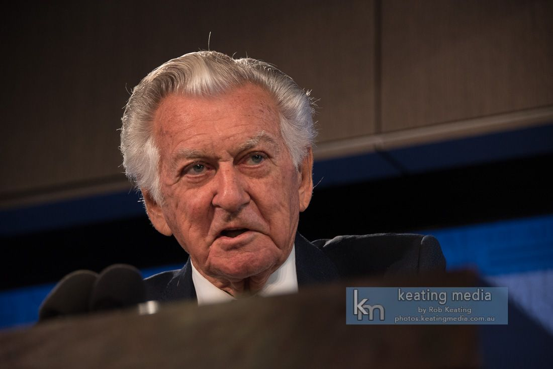 gareth evans and bob hawke at the national press club to launch