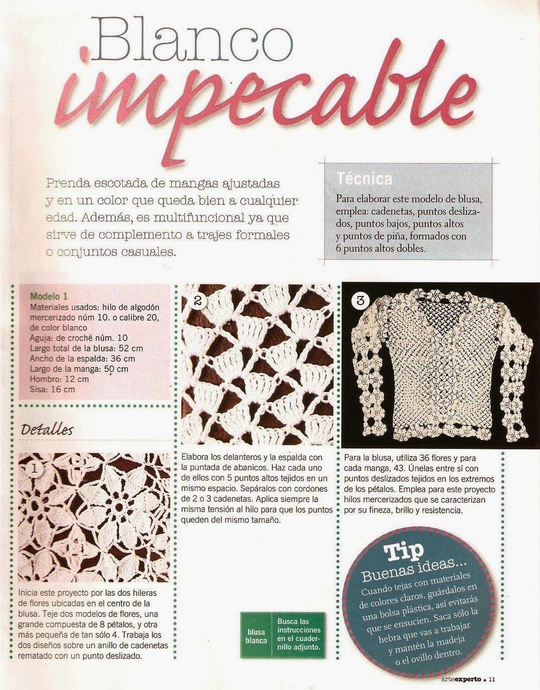 Jersey mangas de Flores Patron - Patrones Crochet | Crochet ...