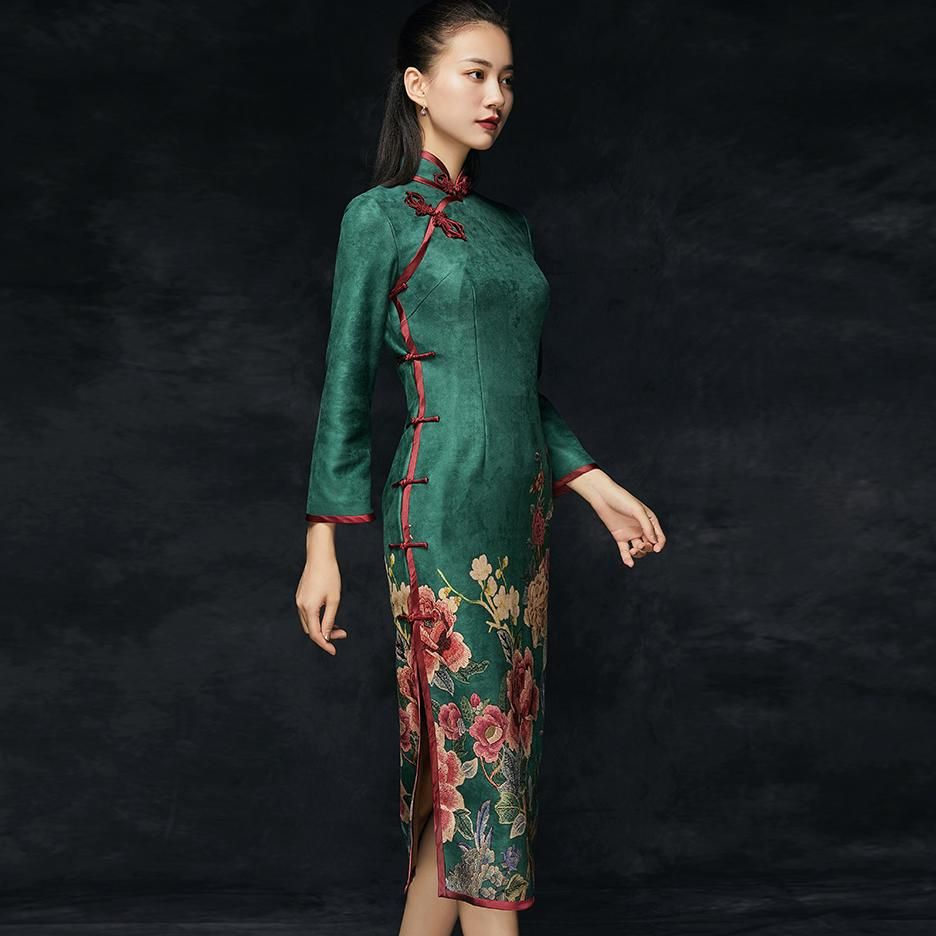 Tea Length Suede Traditional Cheongsam Floral Chinese Dress Chinese Dress Traditional Chinese Dress Chinese Style Dress [ 936 x 936 Pixel ]