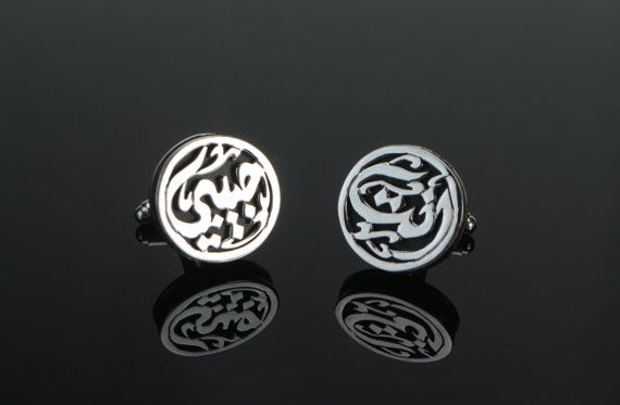 Round Floral Pattern Gold Tone 925 Sterling Silver Cufflinks.