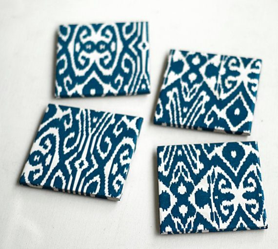 Ikat Coasters Blue Ikat Prussian blue Set of 4 by Tilissimo Home