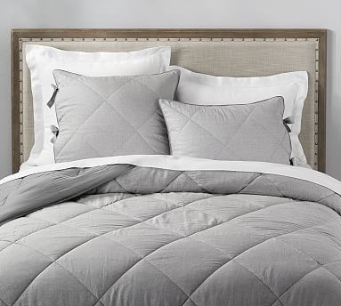Linen Silk Blend Comforter Amp Shams Flagstone Ebony In
