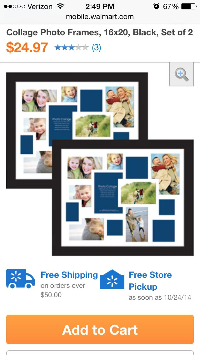 Multi picture frame. Set of two. Walmart.com | Wish list | Pinterest
