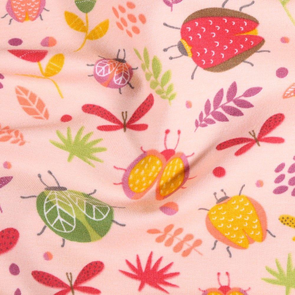 Tissu Jersey Coton Insectes et fleurs sur fond Rose - Par 10 cm
