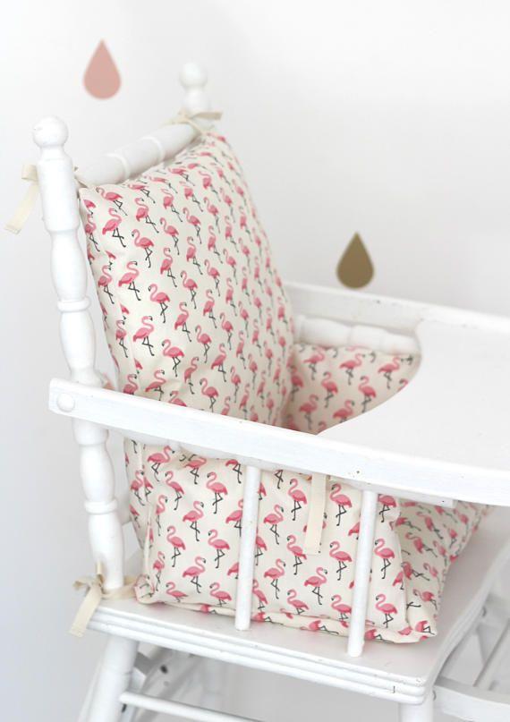 Coussin De Chaise Haute Enfant En Coton Enduit Flamingo Avec