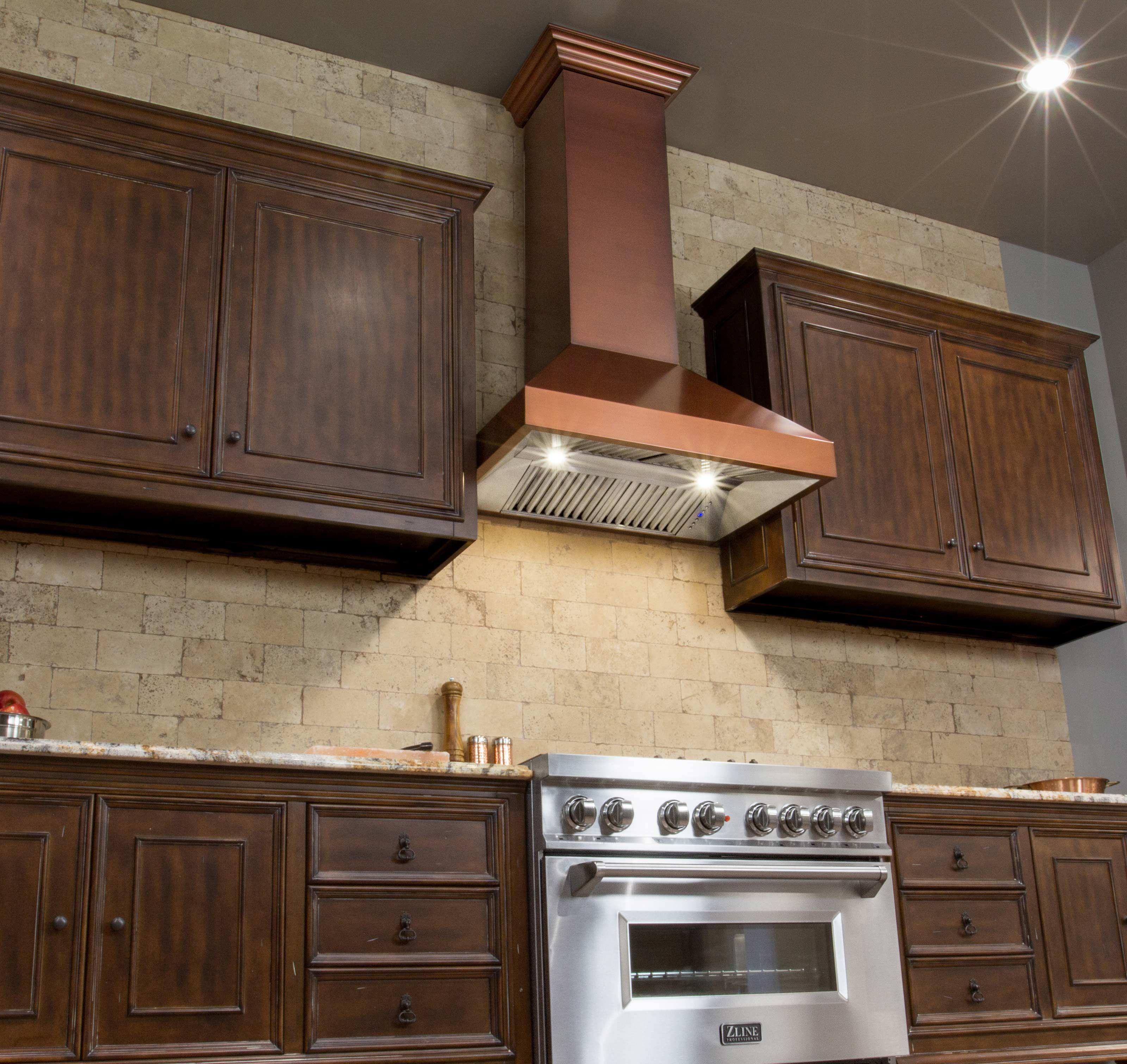 Zline 30 Designer Series Copper Finish Wall Range Hood 8697c 30 Crown Molding 27 5 Range Hood Copper Finish Copper Kitchen