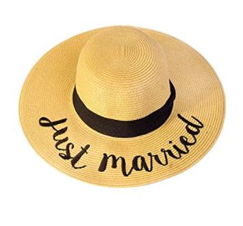 0308eebd Just Married Embroidered Lettering Straw Beach Floppy Sun Hat ~ Honeymoon  Essentials! Honeymoon Travel,