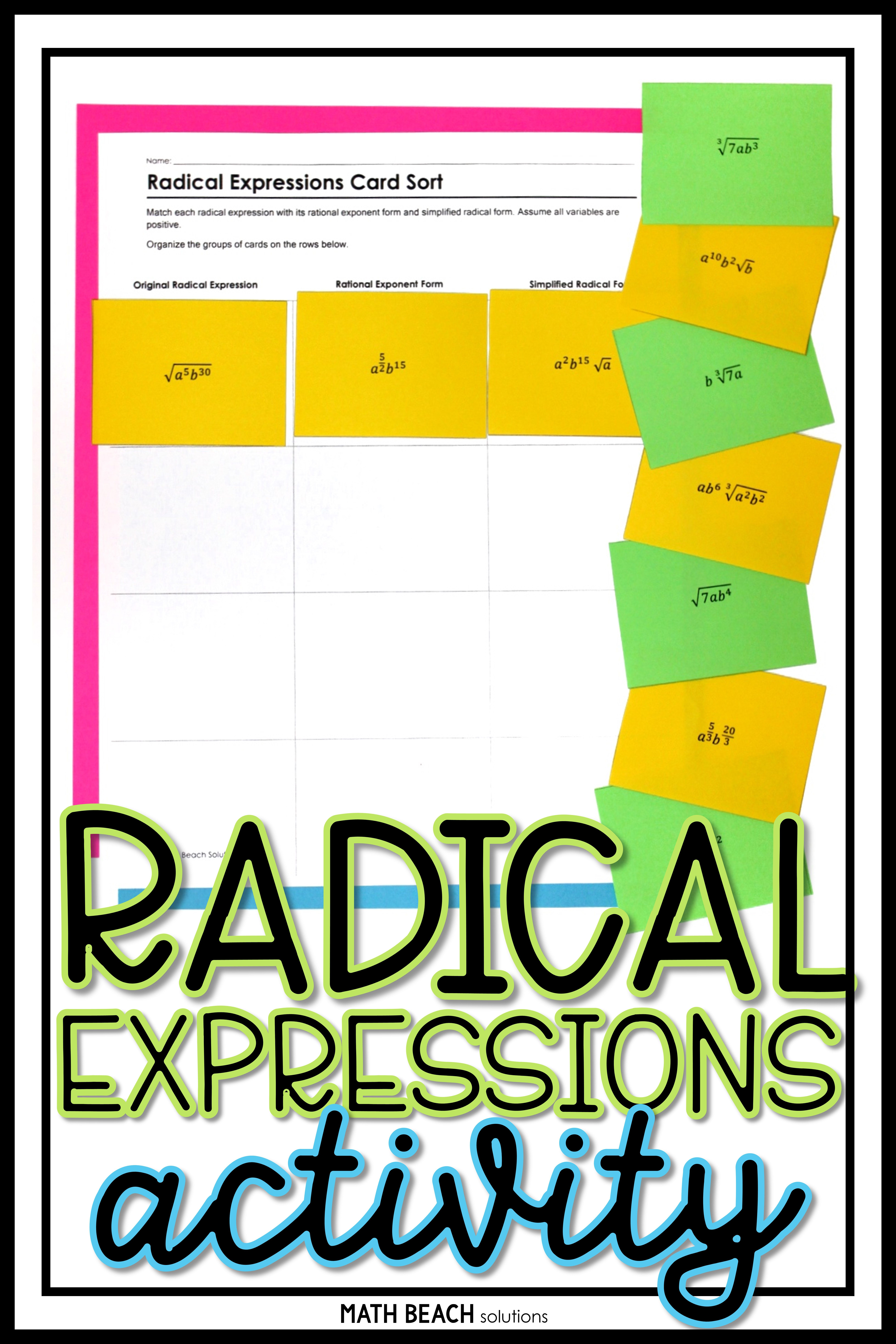 Radical Expressions Card Sort Activity